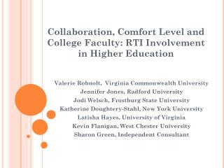 Collaboration, Comfort Level and College Faculty: RTI Involvement in Higher Education