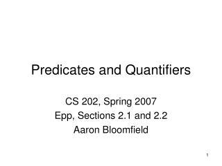 Predicates and Quantifiers