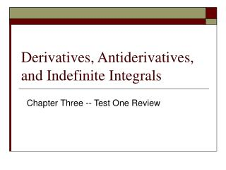 Derivatives, Antiderivatives, and Indefinite Integrals