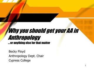 Why you should get your AA in Anthropology … or anything else for that