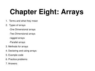 Chapter Eight: Arrays