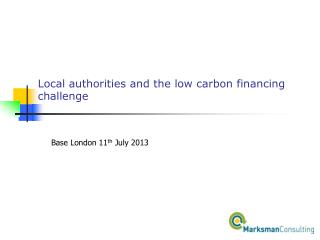 Local authorities and the low carbon financing challenge