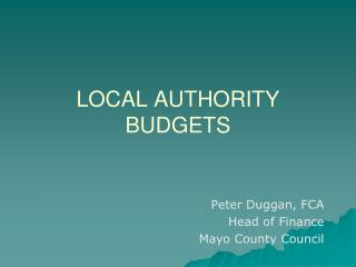 LOCAL AUTHORITY BUDGETS