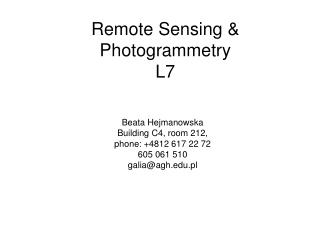 Remote Sensing & Photogrammetry L7