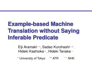 Example-based Machine Translation without Saying Inferable Predicate