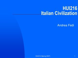 HUI216 Italian Civilization