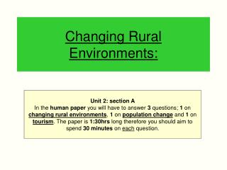Changing Rural Environments: