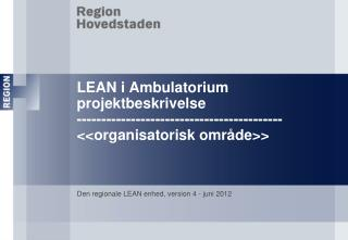Den regionale LEAN enhed, version 4 - juni 2012