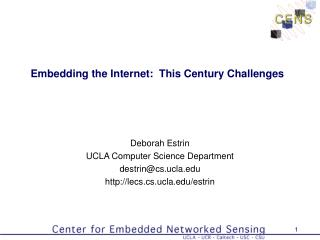 Embedding the Internet:  This Century Challenges