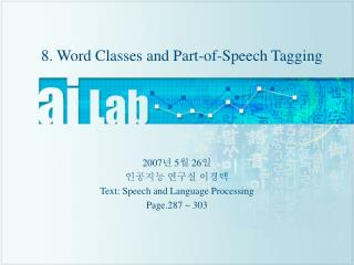 8. Word Classes and Part-of-Speech Tagging