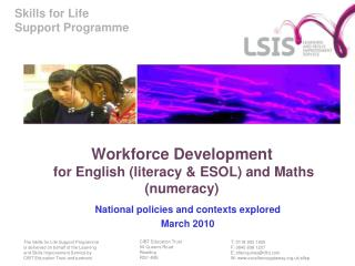 Workforce Development  for English (literacy & ESOL) and Maths (numeracy)