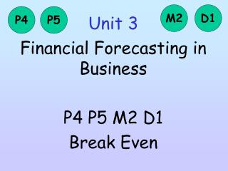 Unit 3 Financial Forecasting in Business P4 P5 M2 D1 Break Even