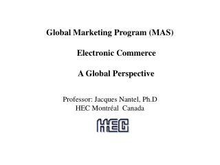 Global Marketing Program (MAS)        Electronic Commerce        A Global Perspective