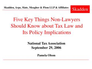 Five Key Things Non-Lawyers Should Know about Tax Law and Its Policy Implications