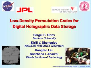 Low-Density Permutation Codes for Digital Holographic Data Storage