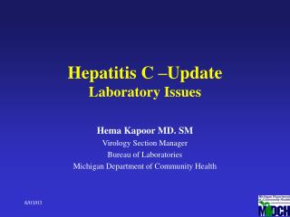 Hepatitis C –Update Laboratory Issues