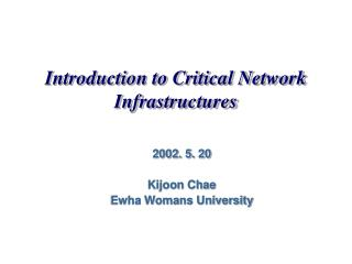 Introduction to Critical Network Infrastructures
