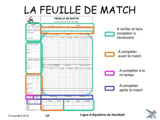 LA FEUILLE DE MATCH