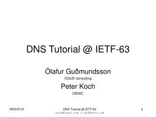 DNS Tutorial @ IETF-63