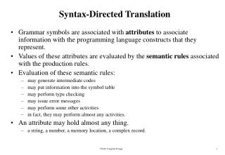 Syntax-Directed Translation