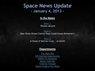 Space News Update - January 4, 2013 -