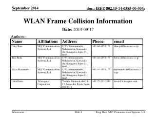 WLAN Frame Collision Information