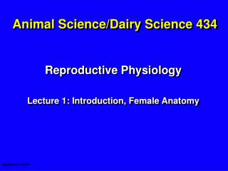 Animal Science/Dairy Science 434