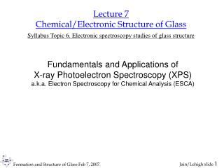 Lecture 7 Chemical/Electronic Structure of Glass Syllabus Topic 6. Electronic spectroscopy studies of glass structure