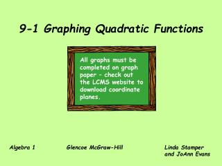 9-1 Graphing Quadratic Functions