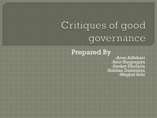 Critiques of good governance