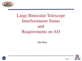 Large Binocular Telescope Interferometer Status and Requirements on AO