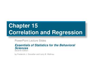 Chapter 15 Correlation  and Regression