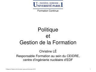 Politique  et  Gestion de la Formation
