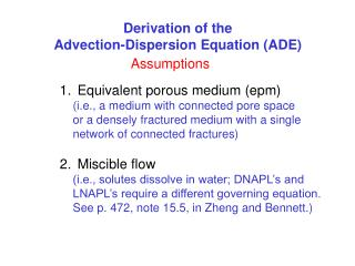 Derivation of the Advection-Dispersion Equation (ADE)