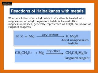 Reactions of  Haloalkanes  with metals