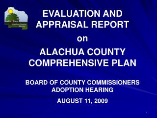 EVALUATION AND APPRAISAL REPORT  on ALACHUA COUNTY COMPREHENSIVE  PLAN