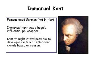 an analysis of good will based on the philosophy of emmanuel kant Kantian philosophy outlines the universal law formation of the categorical imperative as a method kant's categorical imperative: summary good or bad, that.