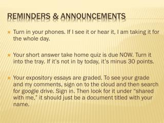 Reminders & Announcements
