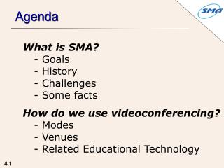 What is SMA?  Goals  History  Challenges  Some facts How do we use videoconferencing? - Modes