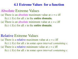 4.1 Extreme Values  for a function
