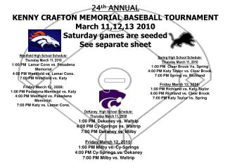 24 th  ANNUAL KENNY CRAFTON MEMORIAL BASEBALL TOURNAMENT March 11,12,13 2010