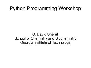 Python Programming Workshop