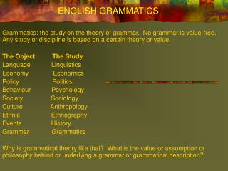 ENGLISH GRAMMATICS