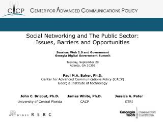 Social Networking and The Public Sector: Issues, Barriers and Opportunities