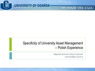 Specificity  of  University Asset  Management  –  Polish Experience