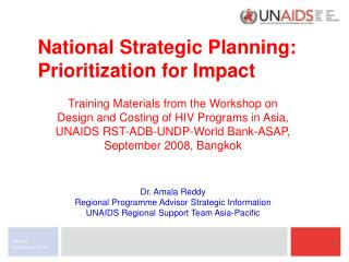 National Strategic Planning: Prioritization for Impact
