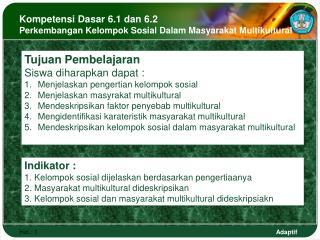 Kompetensi Dasar 6.1 dan 6.2 Perkembangan Kelompok Sosial Dalam Masyarakat Multikultural