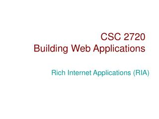CSC 2720 Building Web Applications