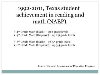 1992-2011, Texas student achievement in reading and math (NAEP).