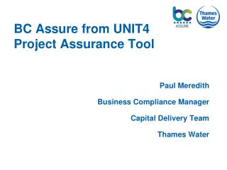 BC Assure from UNIT4 Project Assurance Tool